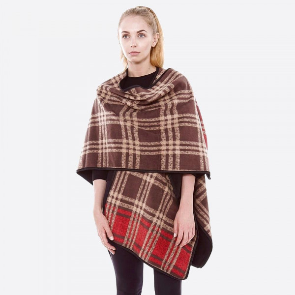 """Tan fleece plaid reversible ruana/wrap.  - One size fits most 0-14 - Approximately 31"""" in length. - 100% Polyester"""