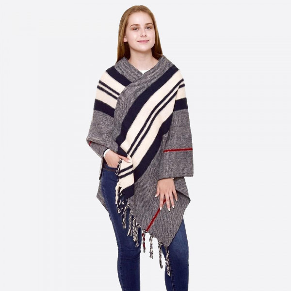 Wholesale two striped knit poncho fringes One fits most L Acrylic