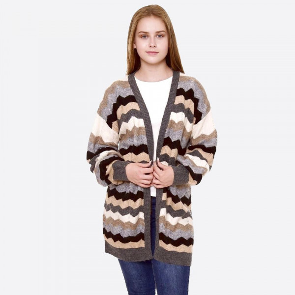 "Chevron print cardigan.  - One size fits most 0-14 - Approximately 29"" in length - 75% Acrylic, 12% Polyester, 10% Polamide, 3% Elastane"