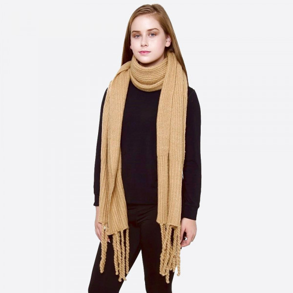 "Solid color ribbed oblong scarf/shawl with fringes.   - Approximately 26"" W x 86"" L - 100% Acrylic"