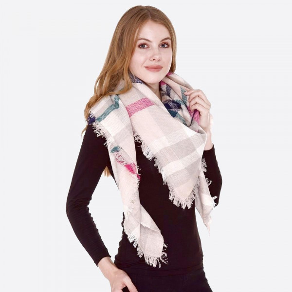 "Plaid blanket scarf.  - Approximately 56"" W x 56"" L - 100% Acrylic"