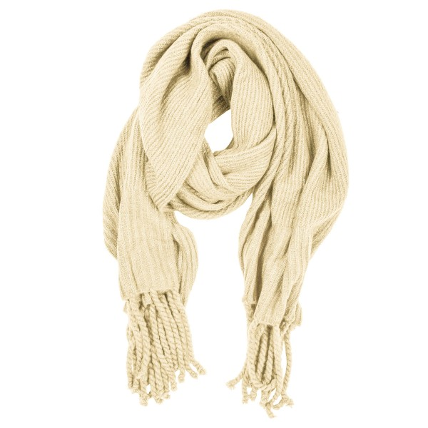 """Oversized solid color ribbed knit blanket scarf with fringes.  - Approximately 25"""" W x 90"""" L - 77% Acrylic, 20% Polyester, 3% Spandex"""