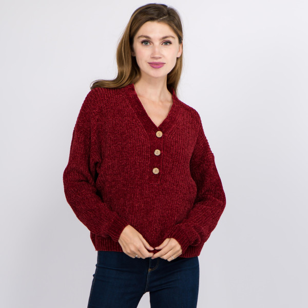 """Short solid color chenille knit v neck sweater featuring coconut button down details.  - One size fits most 0-14 - Approximately 22"""" in length - 100% Polyester"""