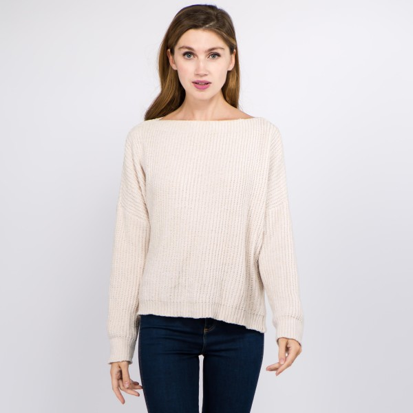 Wholesale solid color chenille knitted sweater One fits most Polyester
