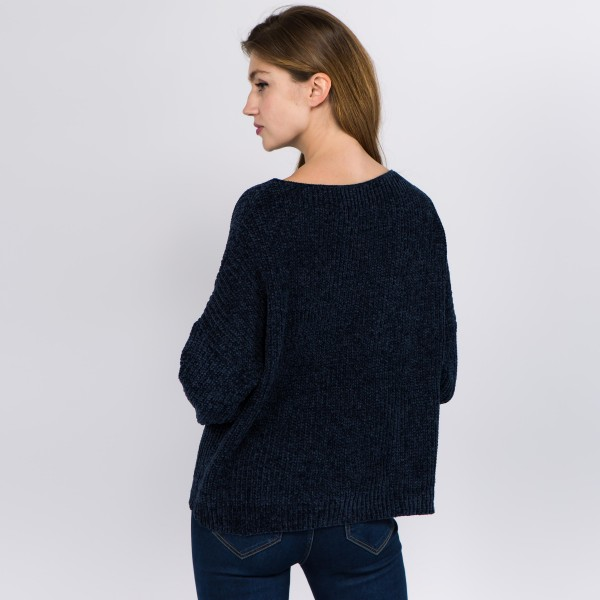 "Solid color chenille knitted sweater.  - One size fits most 0-14 - Approximately 21"" in length - 100% Polyester"