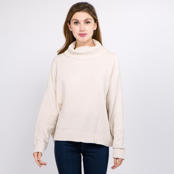 "Solid color chenille turtleneck sweater.   - One size fits most 0-14 - Approximately 21"" in length - 100% Polyester"