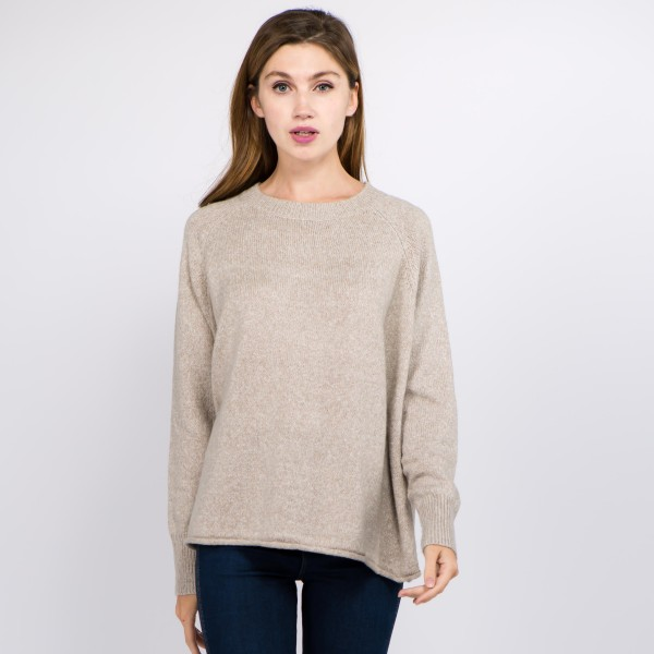 "Solid color heather knitted sweater.  - One size fits most 0-14 - Approximately 23"" in length - 100% Polyester"