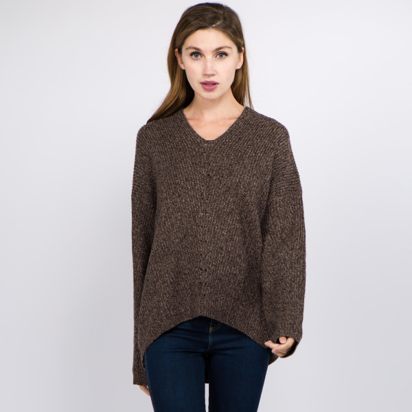 """Heather knit v neck sweater.  - One size fits most 0-14 - Approximately 27"""" in length - 100% Polyester"""