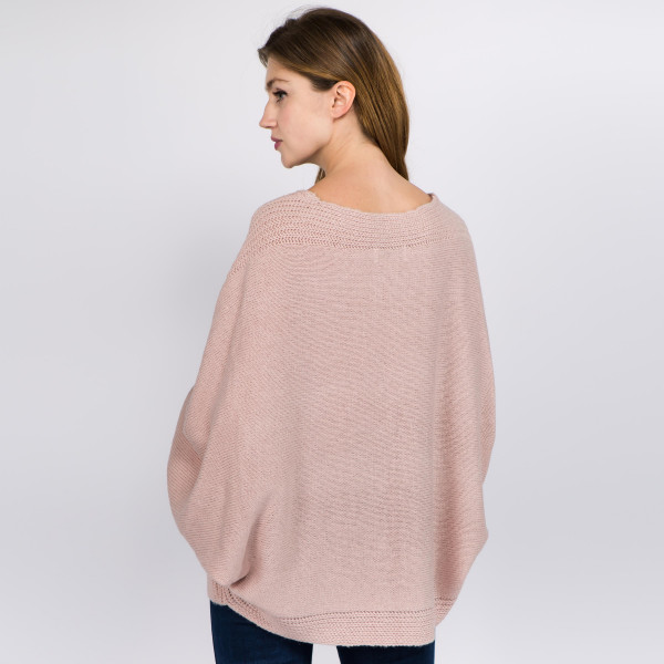 """Solid color knitted v-neck balloon sleeve sweater.  - One size fits most 0-14 - Approximately 22"""" in length  - 100% Acrylic"""