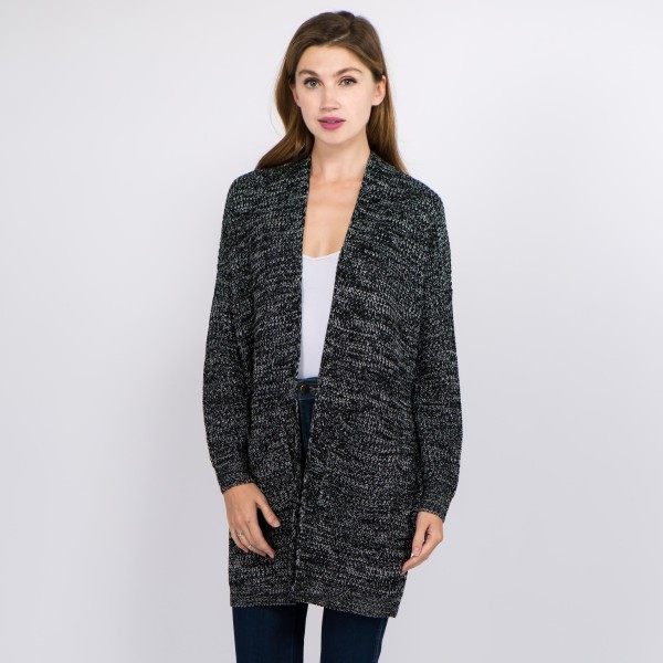 "Solid color heather knitted cardigan with front pocket details.  - One size fits most 0-14 - Approximately 31"" in length  - 100% Acrylic"