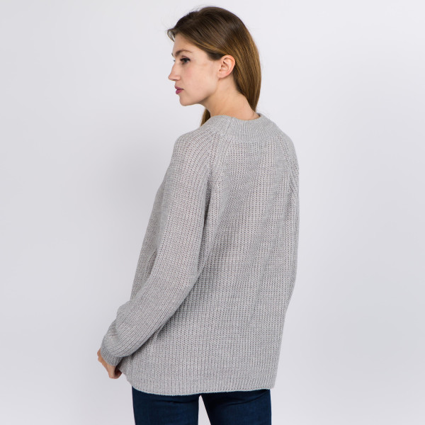 "Solid color heather knitted sweater.  - One size fits most 0-14 - Approximately 23"" in length  - 100% Acrylic"