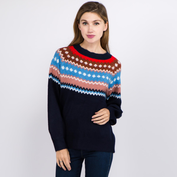 "Soft touch fuzzy knit geo print sweater.  - One size fits most 0-14 - Approximately 25"" in length - 66% Acrylic, 30% Polyester, 4% Spandex"