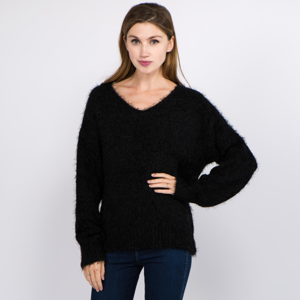 """Solid color soft touch fuzzy chenille knit v neck sweater.  - One size fits most 0-14 - Approximately 25"""" in length - 100% Polyester"""