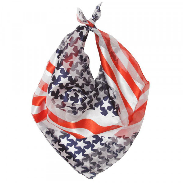 """Lightweight stars and stripes bandanna scarf. Approximately 20"""" x 20"""" in size. 100% Polyester."""
