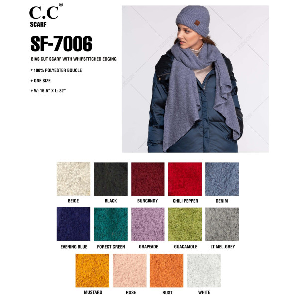 """C.C SF-7006 Bias cut scarf with whipstitched edging  - 100% Polyester - One size fits most - 16.5"""" W x 82"""" L"""