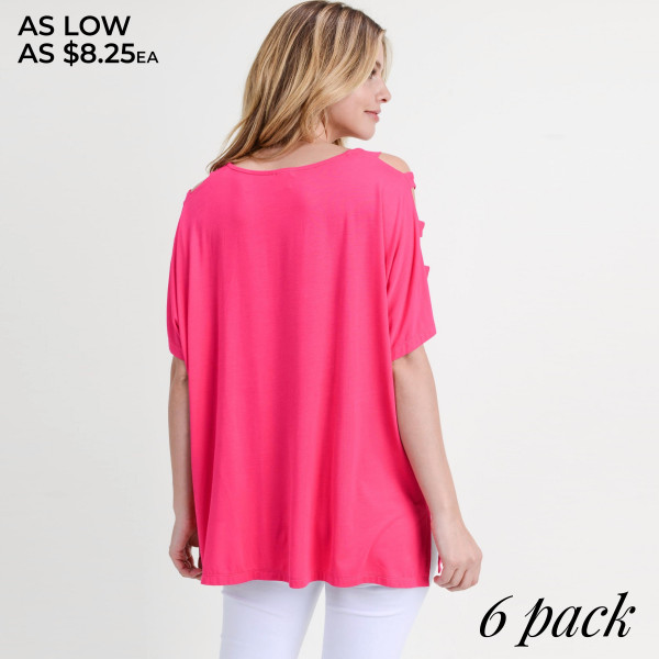 "Solid short sleeve oversized silhouette featuring dolman sleeves with cut out details. Approximately 26"" in length.  • Short dolman sleeves with cut out detail  • Round neckline  • Side slit accents on hem  • Oversized silhouette  • Soft and comfortable  • Imported   - Pack Breakdown: 2S / 2M / 2L  - Sizes: 2S / 2M / 2L  - Composition: 95% Rayon, 5% Spandex"
