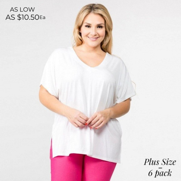 "Solid short sleeve plus size oversized v-neck tee featuring side slit details. Approximately 25"" in length.  • Short sleeves, v-neck  • Oversized silhouette  • Side slit accents  • Soft and stretchy  • Pullover styling  • Style with leggings or jeans for an effortless look  • Soft and stretchy  • Imported   - Pack Breakdown: 6pcs / pack  - Sizes: 2-XL / 2-1X / 2-2X  - Composition: 95% Rayon, 5% Spandex"