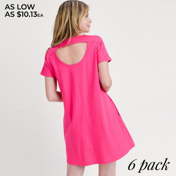 "Solid short sleeve tunic dress with side pockets and cut out back details. Approximately 32"" in length.  • Short sleeves  • Crew Neck with exposed seam detail  • Two open side pockets  • A-line silhouette  • Cut out back detail  • Knee length hem  • Soft and stretchy  • Imported   - Pack Breakdown: 6pcs / pack  - Sizes: 2S / 2M / 2L  - Composition: 92% Cotton, 8% Spandex"