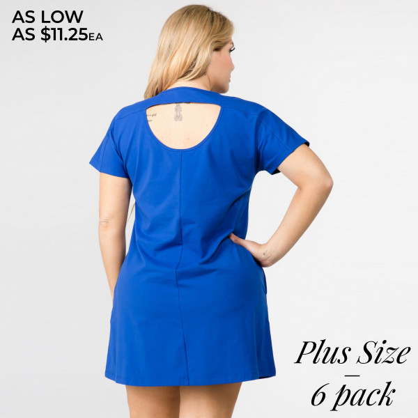 """Solid short sleeve plus size tunic dress with side pockets and cut out back details. Approximately 35"""" in length.  • Short sleeves  • Crew Neck with exposed seam detail  • Two open side pockets  • A-line silhouette  • Cut out back detail  • Knee length hem  • Soft and stretchy  • Imported   - Pack Breakdown: 6pcs / pack   - Sizes: 2-XL / 2-1X / 2-2X  - Composition: 92% Cotton, 8% Spandex"""