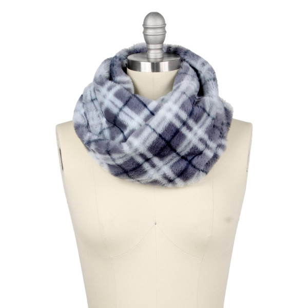 "Faux fur plaid print tube scarf.  - Approximately 11.75"" W x 15.75"" L - 100% Polyester"