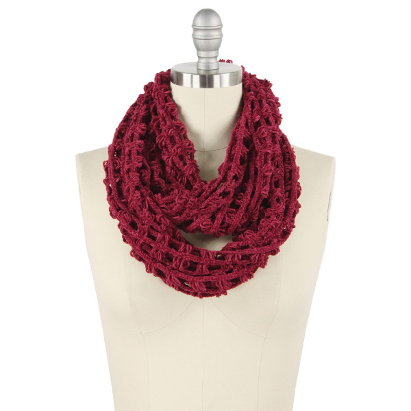 """Net knitted chenille infinity scarf.  - Approximately 11.75"""" W x 27.5"""" L - 100% Polyester"""