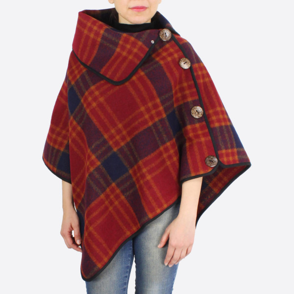 """Plaid poncho with button details.  - One size fits most 0-14 - Approximately 30"""" in length - 100% Polyester"""