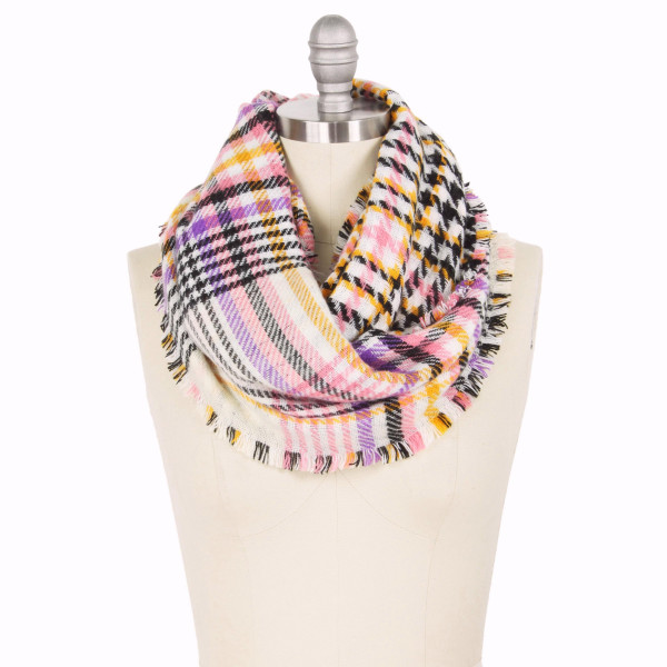 """Plaid double side infinity scarf.  - Approximately 15.75"""" W x 31.5"""" L - 100% Acrylic"""