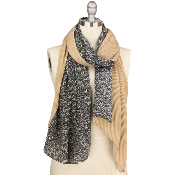 """Leopard print H&H pleated scarf.  - Approximately 70"""" L x 35"""" W - 100% Polyester"""