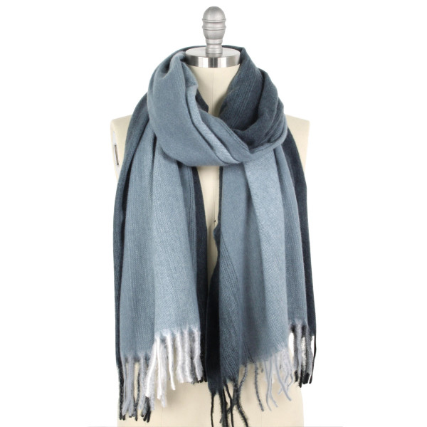"Ombre brushed oblong scarf with fringes.  - Approximately 25"" W x 94"" L - 100% Polyester"