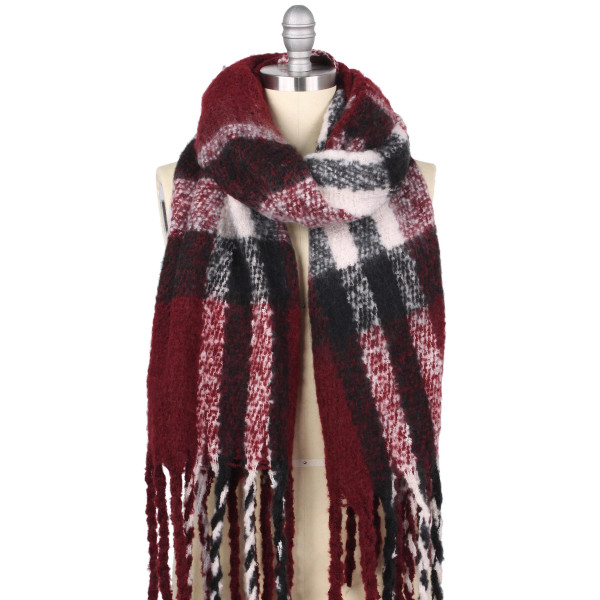 "Plaid brushed puffy scarf with fringes.   - Approximately 19.5"" W x 70.5"" L. Fringes approx. 5.5"" L - 100% Polyester"
