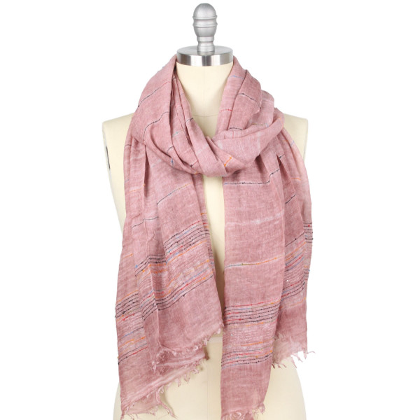 "Natural die scarf with color thread embroidered details.  - Approximately 31.5"" W x 71"" L - 100% Viscose"
