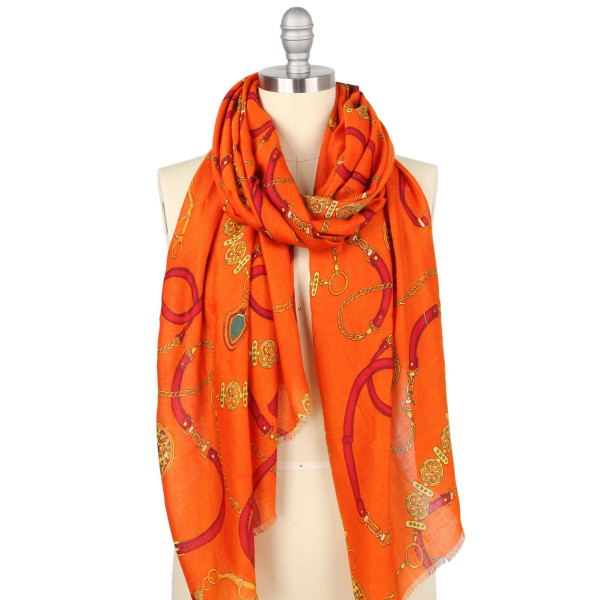 "Lightweight chain print scarf.  - Approximately 35.5"" W x 70.5"" L - 100% Polyester"