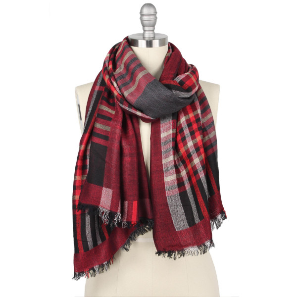 "Plaid double side scarf.  - Approximately 27.5"" W x 68.75"" L - 45% Viscose, 55% Polyester"