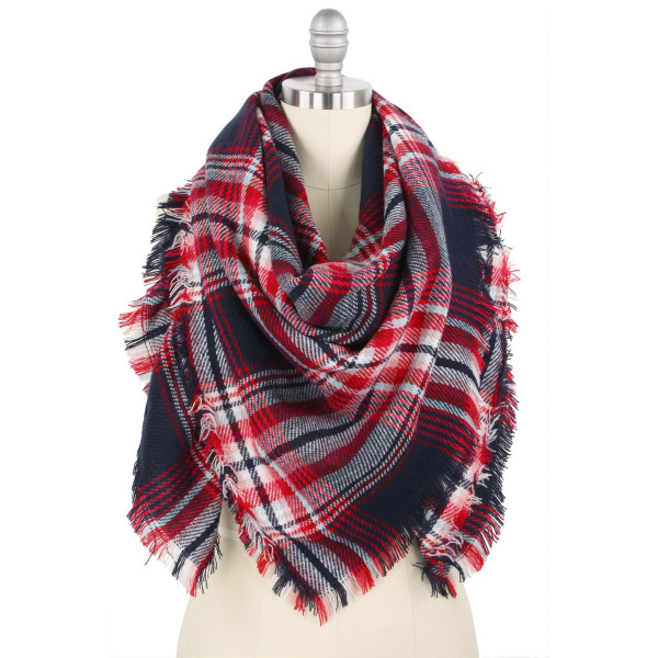 "Plaid print blanket scarf/shawl.  - Approximately 51"" W x 53"" L - 100% Polyester"