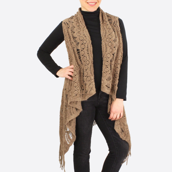 """Crochet inspired knit knit vest with fringes.  - One size fits most 0-14 - Approximately 34"""" in length - 100% Acrylic"""