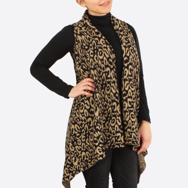"Leopard print knit vest.  - One size fits most - Approximately 33"" in length - 100% Acrylic"