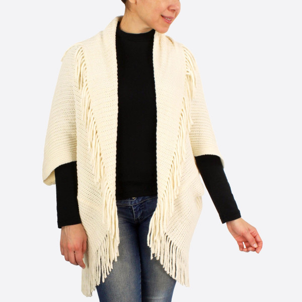 "Chenille shrug/cardigan with fringes.  - One size fits most 0-14 - Approximately 43"" in length - 100% Polyester"