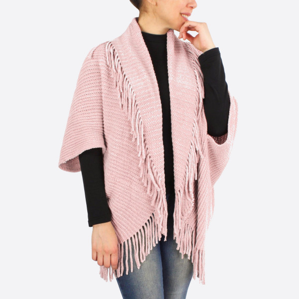 """Chenille shrug/cardigan with fringes.  - One size fits most 0-14 - Approximately 43"""" in length - 100% Polyester"""