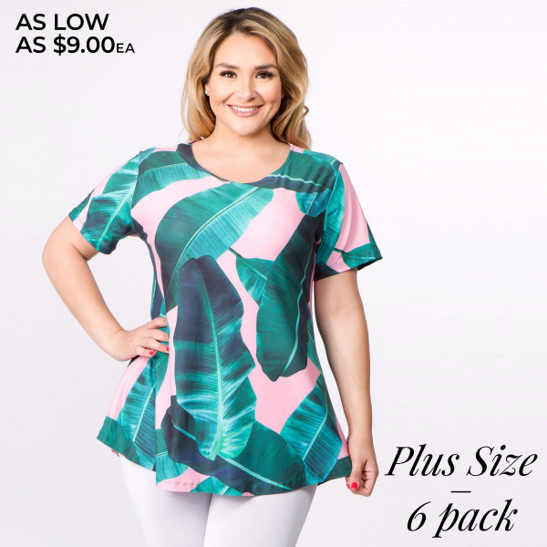 "Plus size palm leaf print short sleeve tunic top. Approximately 30"" in length.   - Pack Breakdown: 6pcs / pack  - Sizes: 2-XL / 2-2XL / 2-3XL  - Composition: 95% Polyester, 5% Spandex"
