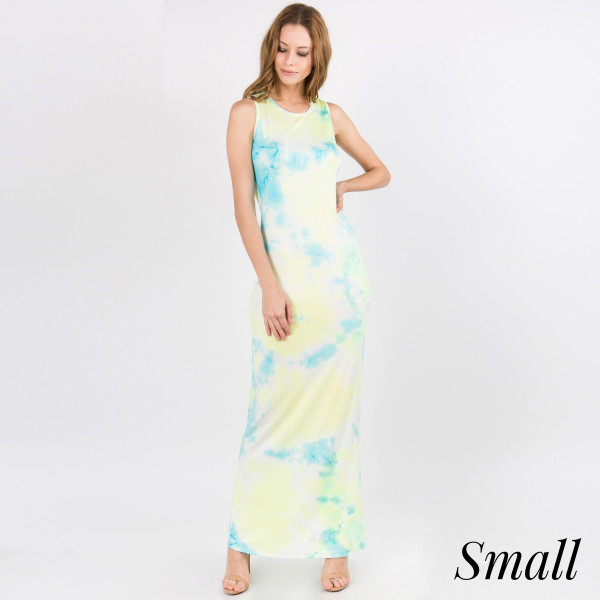 """Tie-dye sleeveless full length maxi dress. Approximately 40"""" in length.  • Scoop Neckline  • Sleeveless  • Closure Style: Pullover  • Import  - Size: Small   - Content: 95% Rayon, 5% Spandex"""