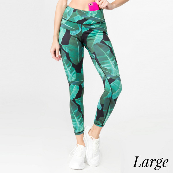 "Palm leaf printed athletic leggings. Inseam approximately 28"" in length.   • Flat reinforced high rise waistband  • Hidden waistband pocket for keys, phone, cash  • Palm leaf print  • Flat stitched seams prevent chafing  • Triangle crotch gusset eliminates camel toe  • 4 way stretch fabric for a move with you feel  • Moisture wick  • Perfect for the gym, yoga, travel, lounging  • Full length  • Imported   - Size: Large  - Composition: 46% Polyester, 41% Nylon, 13% Spandex"