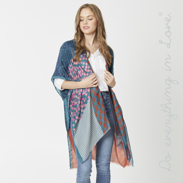 "Lightweight multi geometric print kimono.  - One size fits most 0-14 - Approximately 35"" in length  - 100% Polyester"