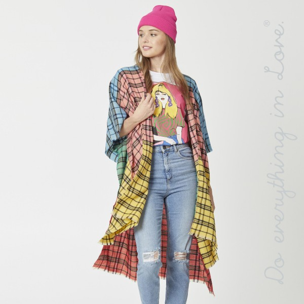 "Do everything in Love brand lightweight multicolor plaid print kimono.  - One size fits most 0-14 - Approximately 37"" L - 100% Acrylic"