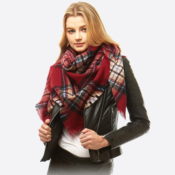 """Square plaid blanket scarf.  - Approximately 53"""" x 53""""  - 100% Acrylic"""