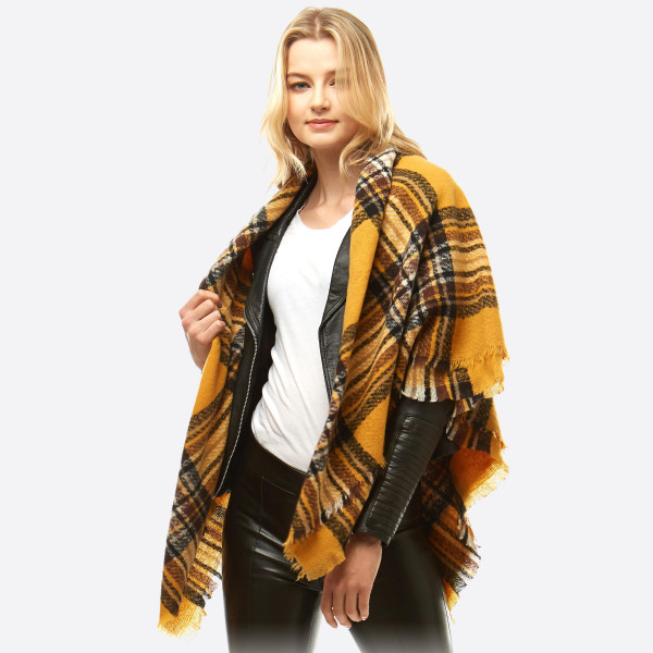 "Square plaid blanket scarf.  - Approximately 53"" x 53""  - 100% Acrylic"