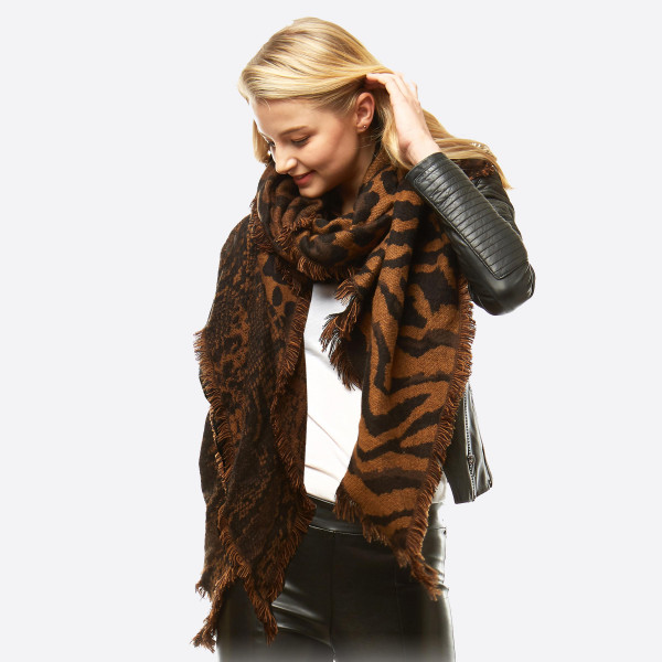 "Multi animal print bias oblong scarf with frayed edges.  - Approximately 27"" W x 51"" L - 100% Acrylic"