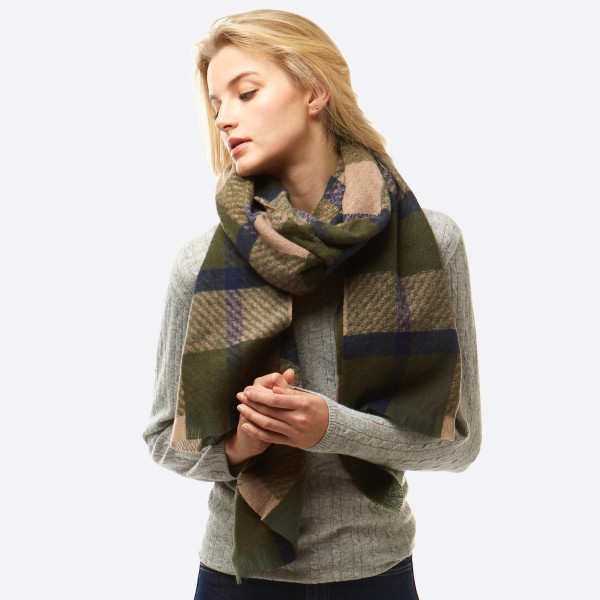 "Plaid print oblong scarf with frayed edges.  - Approximately 25"" W x 80"" L - 100% Polyester"