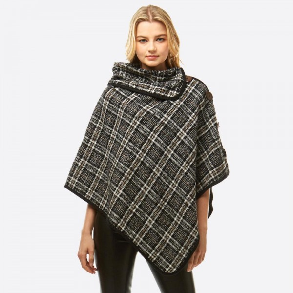 "Plaid turtleneck poncho with coconut button details.  - One size fits most 0-14 - Approximately 32"" in length - 100% Polyester"