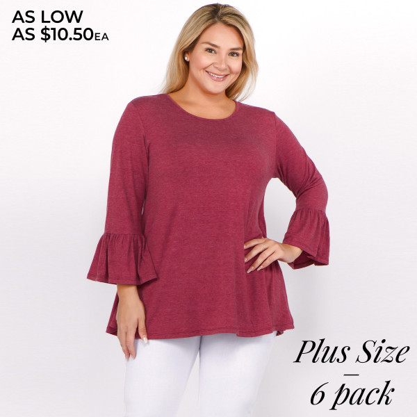 "Solid color plus size bell sleeve tunic top. Approximately 29"" in length.  • 3/4 length bell sleeves  • Round neckline  • Relaxed fit  • Pullover styling  • Soft and comfortable fabric  • Imported   - Pack Breakdown: 6pcs / pack  - Sizes: 2-XL / 2-1X / 2-2X  - Composition: 62% Polyester, 34% Rayon, 4% Spandex"