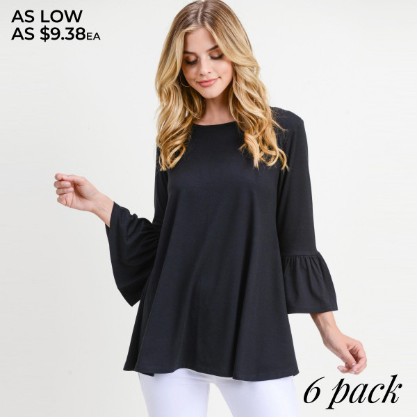 "Solid color bell sleeve tunic top. Approximately 28"" in length.  • 3/4 length bell sleeves  • Round neckline  • Relaxed fit  • Pullover styling  • Soft and comfortable fabric  • Imported   - Pack Breakdown: 6pcs / pack  - Sizes: 2S / 2M / 2L  - Composition: 62% Polyester, 34% Rayon, 4% Spandex"